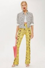 Topshop Snake Effect Flare Trousers | yellow retro pants