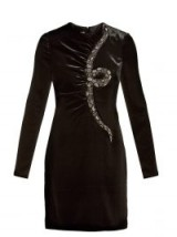 VALENTINO Snake-embroidered beaded black velvet mini dress ~ glamorous lbd