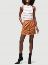 FRAME Snap Suede Mini in Carmelo | soft caramel-brown skirts