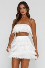 MESHKI SOFIA FRINGE CROP TOP in WHITE | fringed party fashion