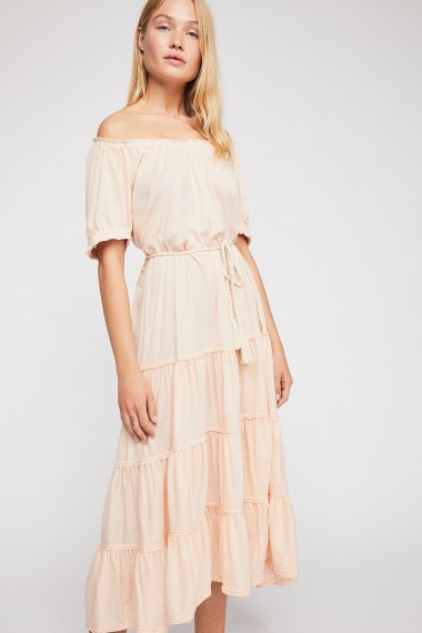 FP Beach Spell On You Midi Dress in Almond at Free People | peasant style summer frock