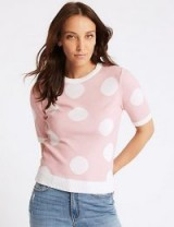 M&S COLLECTION Spotted Round Neck Short Sleeve Jumper Light Pink Mix / pretty crew neckline sweater