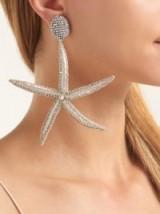 OSCAR DE LA RENTA Starfish bead-embellished drop clip-on earrings ~ inspired by the sea