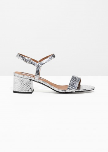 & other stories Strappy Heeled Sandals Silver / metallic block heel shoes