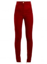 BALMAIN Red Stretch-velvet skinny trousers ~ soft feel skinnies