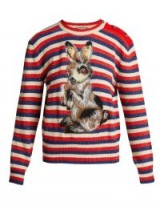GUCCI Striped wool and mohair-blend rabbit sweater ~ cute bunny jumper with metallic flecks