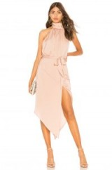 STYLESTALKER TESSA MIDI DRESS NUDE. HIGH NECK ASYMMETRIC DRESS