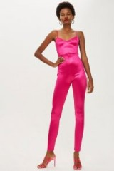Topshop Super Skinny Jumpsuit in Magenta | hot pink party fashion
