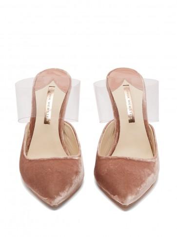 SOPHIA WEBSTER Tara pink velvet plexi-strap mules ~ clear plastic straps