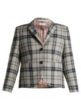 THOM BROWNE Cropped Tartan wool-blend blazer ~ large check prints