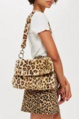 Topshop Teddy Fur Shoulder Bag in Tue Leopard | fluffy animal print handbag