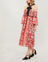 TEMPERLEY LONDON Odyssey cold-shoulder printed chiffon midi dress vermillion mix – red mixed prints – cold shoulder style