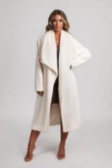 MESHKI TESSA TEDDY BORG LONG WATERFALL COAT in WHITE | autumn luxe