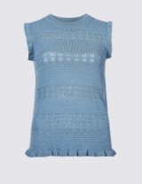 PER UNA Textured Round Neck Jumper Azure Blue / sleeveless frill trimmed knit