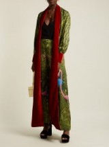 F.R.S – FOR RESTLESS SLEEPERS Tharos green flamingo-print silk coat ~ long luxe outerwear