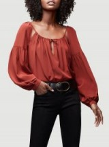 FRAME Tie Up Silk Peasant Top in Burnt Henna | cut out boho blouse