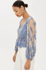 TOPSHOP Two Tone Lace Peplum Top – blue & nude sheer sleeved blouse