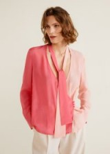 Mango Pink Two-tone flowy blouse – luxe style top