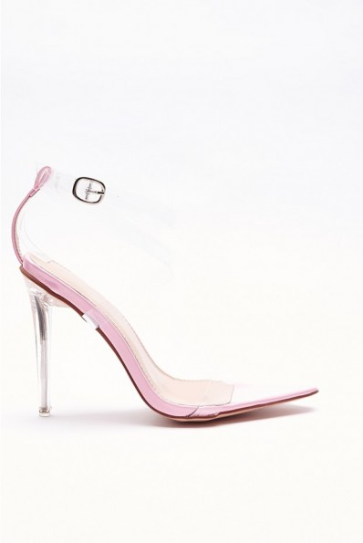 IN THE STYLE VALARIA PINK CLEAR STRAPPY POINTED DETAIL HEELS ~ transparent barely there