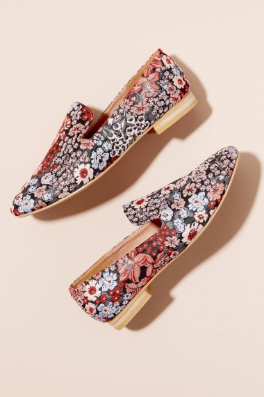 Vanessa Wu Floral-Print Flats in Pink | textile loafer