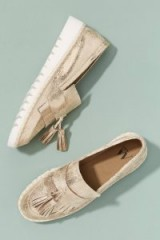 Vanessa Wu Metallic Tasselled-Leather Loafers in Gold | luxe flats