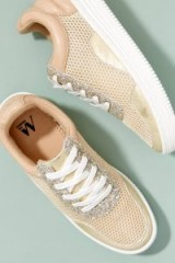 Vanessa Wu Metallic Trainers in Gold | sports luxe | glitter sneakers