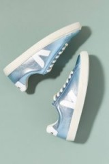 Veja Fair Trade Esplar Metallic-Leather Trainers | shiny blue sneakers | sports luxe