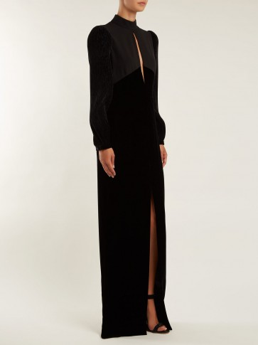 GIVENCHY Black Velvet and crepe high neck gown