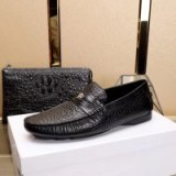 Versace Embossed Leather Penny Drivers