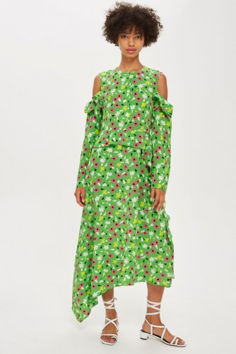 TOPSHOP Waterfall Dress by Boutique / green floral cold shoulder dresses