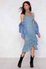NASTY GAL West Coast Floral Dress Blue – layered ruffles