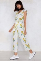 Nasty Gal When Life Gives You Lemons Ruffle Jumpsuit White | pretty summer all in one