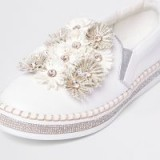 River Island White floral slip on chunky plimsolls   sports luxe style