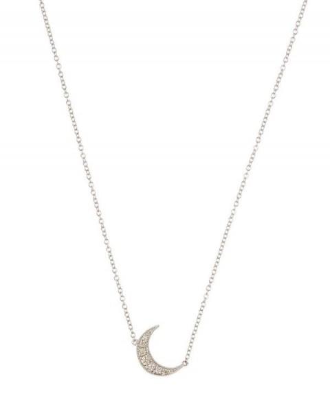ANDREA FOHRMAN White Gold White Diamond Pavé Mini Crescent Necklace | celestial jewellery