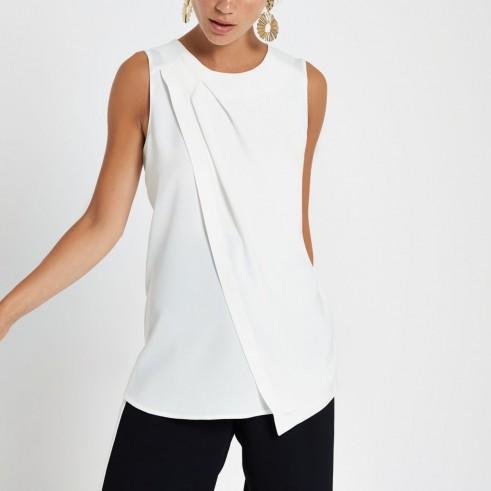 River Island White sleeveless wrap top | asymmetric pleats