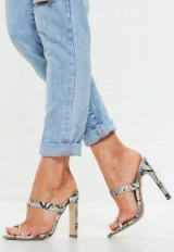 MISSGUIDED white snake print toe post barely there mules – sexy summer heels