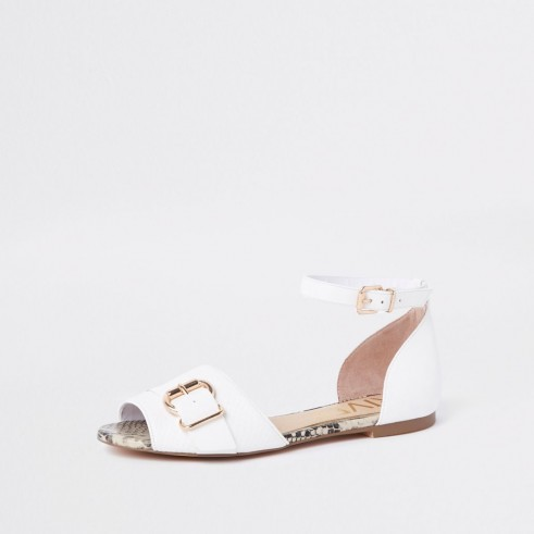 River Island White snake trim peep toe buckle sandals | summer flats