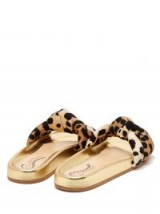 CHARLOTTE OLYMPIA X Adriana Degreas leopard-print slides ~ gold leather flats