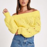 River Island Yellow knit bardot jumper | off shoulder sweater | chunky knits