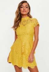 MISSGUIDED yellow short sleeve lace double layer dress