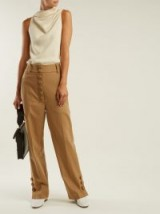 JOSEPH Young buttoned wool and cashmere-blend trousers in camel | stylish pants