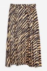 TOPSHOP Zebra Print Pleat Midi Skirt – animal prints