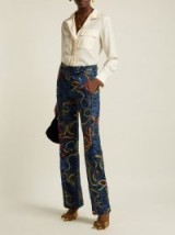 F.R.S – FOR RESTLESS SLEEPERS Zelos blue snake-print silk trousers ~ luxe printed pants