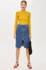 Topshop Zip Through Denim Midi Skirt | retro look