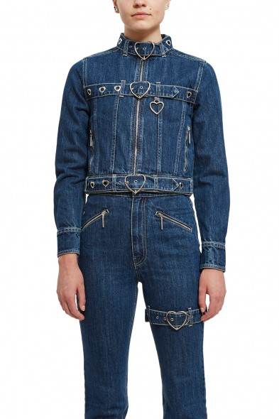 Adam Selman JEAN JACKET WITH HEART SHAPED BUCKLES