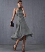 REISS ADELIA HOUNDSTOOTH ASYMMETRIC MIDI DRESS MONOCHROME ~ feminine & chic evening wear