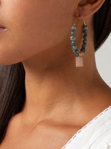 ELISE TSIKIS Aduana beaded hoop earrings | green and pink stone jewellery | large hoops - flipped