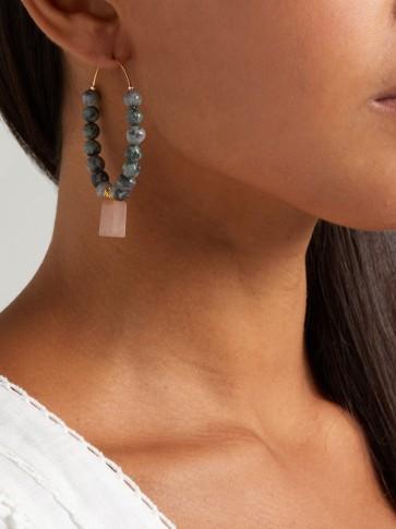 ELISE TSIKIS Aduana beaded hoop earrings | green and pink stone jewellery | large hoops