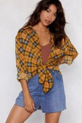 NASTY GAL After Party Vintage Bearer of Plaid News Shirt in mustard / yellow tartan