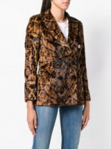 ALBERTO BIANI leopard faux fur jacket / double breasted animal print blazer / brown autumn tones